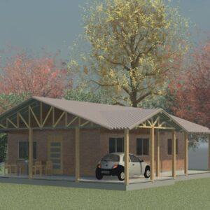 Casa de madeira com varanda