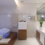 banheira com deck de madeira